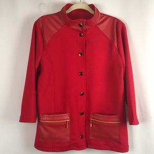 Onque Casuals Red Faux Leather Button Jacket